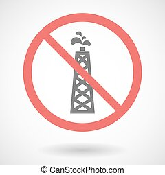 Forbidden vector signal with an oil tower