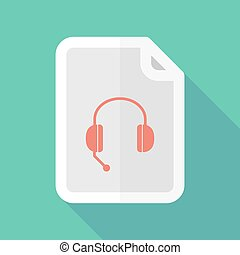 Long shadow document vector icon with a hands free phone...