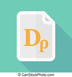Long shadow document vector icon with a drachma currency...