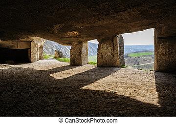 Limestone mines, Old Orhei, Moldova - Abandoned limestone...
