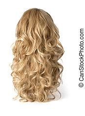 peluca, largo, rizado, rubio