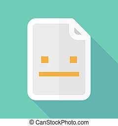 Long shadow document vector icon with a emotionless text face