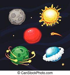 Set of cartoon fantastic planets