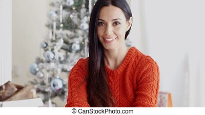 Young woman relaxing over the Christmas season - Pretty...