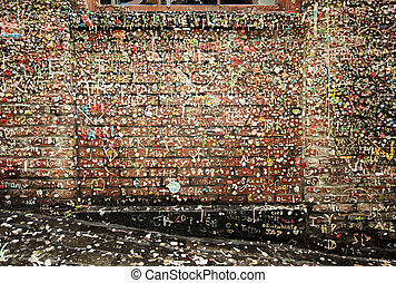Post Alley Walls With Gum - An old brick wall in Post Alley...