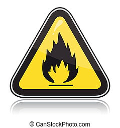 Yellow triangular warning sign Attention flammable