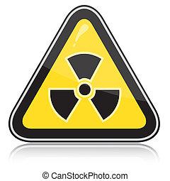 Warning radiation hazard sign - Yellow triangular warning...