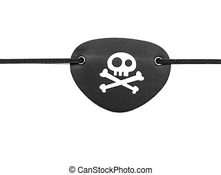 Pirate eyepatch on white - Closeup of pirate eyepatch on...