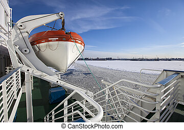 Gulf of Finland covered with ice on - View from the Gulf of...