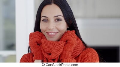 Serious young woman in winter fashion - Serious attractive...