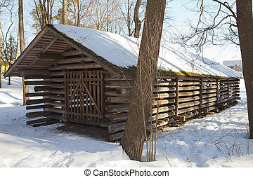 Seurasaari island, Helsinki, Finlan - Old wooden barn in the...