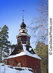 Seurasaari island, Helsinki, Finlan - Old wooden church in...