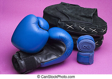 Boxing equipment - Equipment for boxing complex on a pink...
