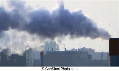 Smoke Stacks smokes - Town air smokes from smokestack