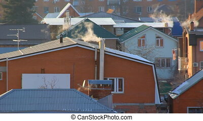 Smokes from houses smokestacks - Village houses smokes from...