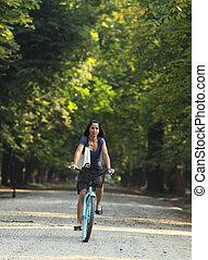乗馬, 女, 自転車