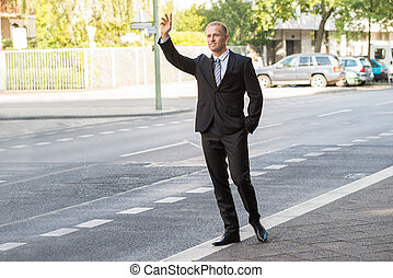 Businessman Calling Taxi - Young Businessman Calling Taxi On...