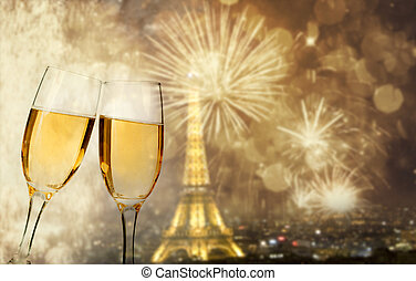 Celebration of the New Year in Paris, France