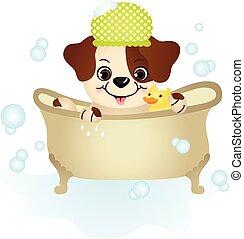 Cute dog taking a bath
