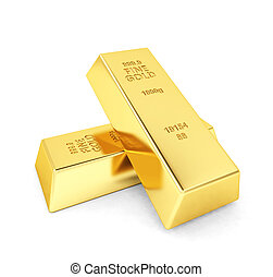 Two gold bars on white background
