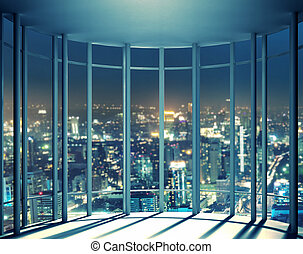 Night view of buildings from high rise window