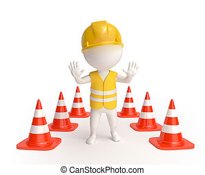 Worker with traffic-cones - White little worker in helmet...
