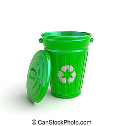 Garbage can - Green recycle garbage can isolated in white