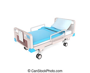 Medical bed - 3D little medical bed isolated on white