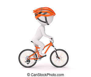 Man cycling - Side view of 3d man in helmet cycling over...