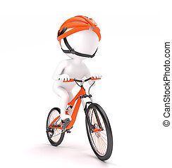 Man cycling - 3d little man in helmet cycling over white