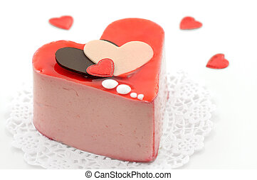 Valentine cake - Valentine strawberry mousse cake with...