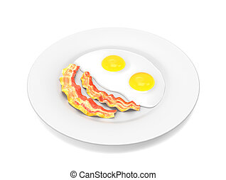 Scrambled eggs and bacon on the plate isolated on white...