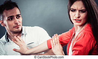 épouse, s'excuser, fâché, désordre, femme, mari
