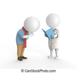 Doctor and ill patient - 3D little white persons standing as...