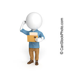 Man with a letter - 3D little man stands with a letter in...