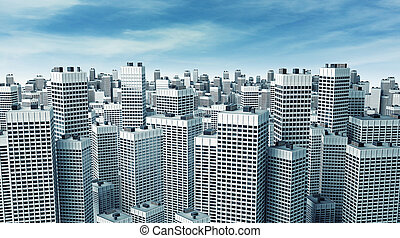 Many modern buildings - Many modern office buildings forming...