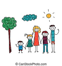 Vector illustration of family vacation Kids drawing
