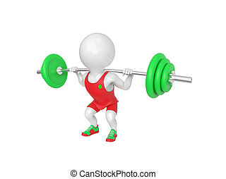 Little white athlete - Small white weight-lifter raises the...