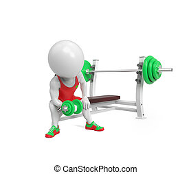 Little white sportsman - Small white person with dumbbells...