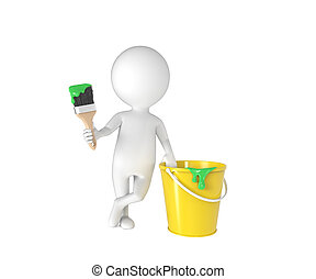 Little white person with brush and bucket of paint