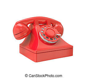 Red old-fashioned phone
