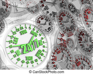 Week clock Full-time service 247 - Green clock with working...