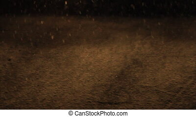 Snowfall road in car lights