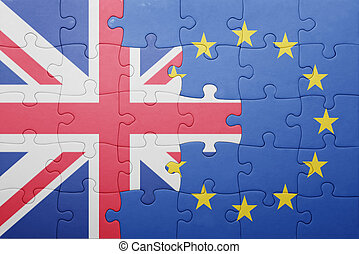 puzzle with the national flag of great britain and european...