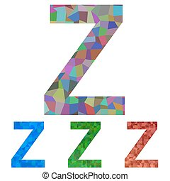 Mosaic font design - letter Z - Colorful textured mosaic...