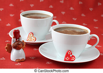 Coffee with hearts and angel - Cups of coffee with little...