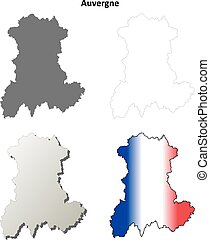 Auvergne blank detailed outline map set - Auvergne blank...