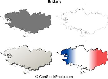 Brittany blank detailed outline map set - Brittany blank...