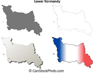 niższy, Normandy, czysty, Szkic, mapa, set, ,