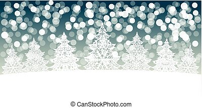 White Christmas trees decoration on snow bokeh background